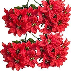 Homcomoda Christmas Red Artificial Flower Poinsettias Bush Fake Flowers Silk Wedding Decoration 7 Heads 4 Bouquets In 2020 Fake Flowers Artificial Flowers Artificial Silk Flowers