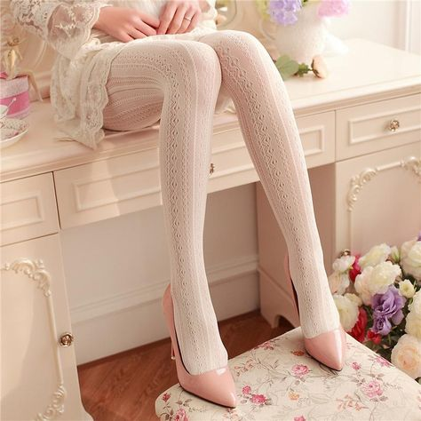 Free Shipping Worldwide! These regal and elegant victorian inspired lace tights will have you feeling like a royal queen. Inspired by traditional lolita fashion, with a pinch of medieval and classical aesthetic. These pantyhose are available in numerous timeless and classic colors. Made of quality stretchy nylon lace.