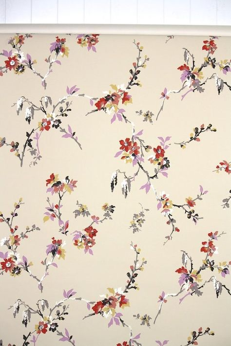 1950s Vintage Wallpaper by the Yard - Floral Wallpaper with Purple Pink Red Yellow Asian Floral Bran
