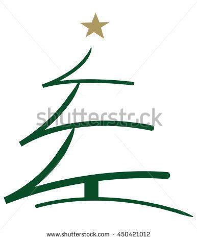 Stylized Vector Brush Illustration Of A Green Christmas Tree With A Golden Star On Top Green Christmas Green Christmas Tree Christmas Decorations