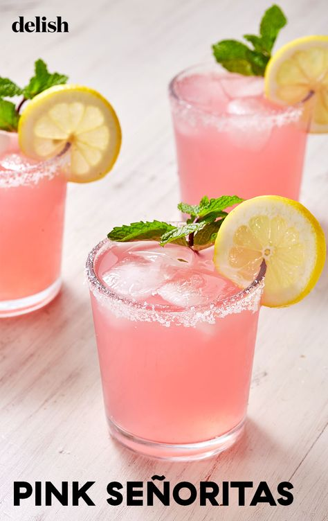 Pink Señoritas - - Pink Señoritas Summer Recipes Like a margarita with a softer, cuter side, the Señorita ditches limes for pink lemonade and lemon juice. Refreshing Drinks, Fun Drinks, Beverages, Pink Alcoholic Drinks, Tequila Drinks, Pink Party Drinks, Fun Summer Drinks Alcohol, Tequila Soda, Low Calorie Alcoholic Drinks