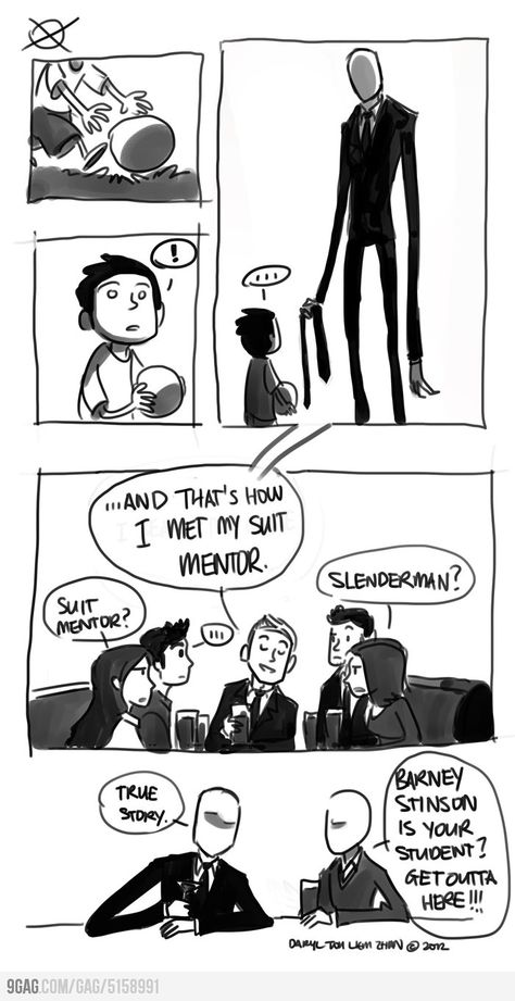 Slenderman and Barney Stinson. I can already imagine it XD Cute Comics, Funny Comics, Lol, The Funny, Funny Cute, Jeff The Killer, Himym, How I Met Your Mother, Scary Stories