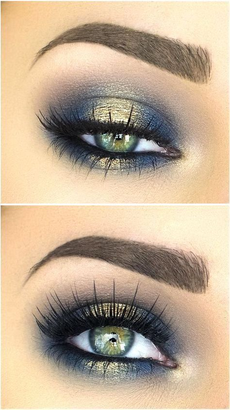 blues of the sea eye makeup look blue and gold eyeshadow smokey