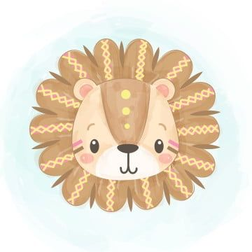 Cute Tribal Lion Head In Watercolor Lion King Clipart Adorable Animal Png And Vector With Transparent Background For Free Download Lion Illustration Tribal Lion Art Drawings For Kids
