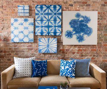 Indigo Dyed Gallery Wall Project Idea Blick Art Materials Canvas Wall Hanging How To Dye Fabric Shibori Diy