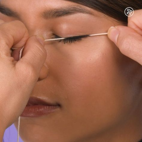 Use A String To Apply Your Eyeliner, smart moveideas fashion tips video style beauty hacksdefinitely gonna work with this 😛Maybe not extra lines but neatI wouldn't leave the random lines but y'all can do whatever