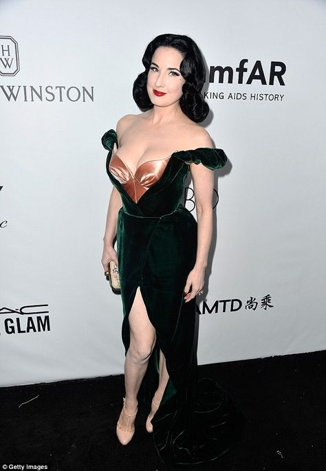 amfAR Inspiration Gala Oct 2017 Lovely burlesque queen Dita Von Teese Raven haired beauty: Dita looked incredible in the sizzling gown which made the most of he.
