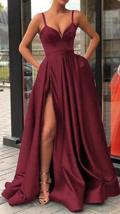 High Thigh Slit Burgundy Formal Prom Dresses with Double Straps ****************************** Attention Please! ***************************************** When you purchase the dress, we will email to you within. Prom Dresses With Pockets, Straps Prom Dresses, Cute Prom Dresses, Prom Outfits, Gala Dresses, Elegant Dresses, Burgundy Prom Dresses, Dress Prom, Burgundy Gown