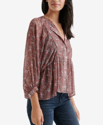 Lucky Brand Floral Print Peasant Top Pink Xs Products In 2019