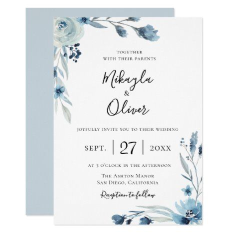 Dusty Blue Botanical Floral Wedding Invitation Zazzle Com Floral Wedding Invitations Wedding Invitations Watercolor Floral Wedding Invitations