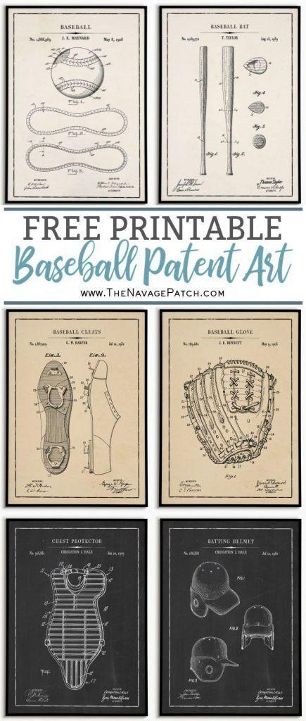 Baseball Bat Patent Set of 5 Baseball Patent Prints Baseball Prints Set Baseball Patent Set of 5 Prints Baseball Mitt Patent Catcher