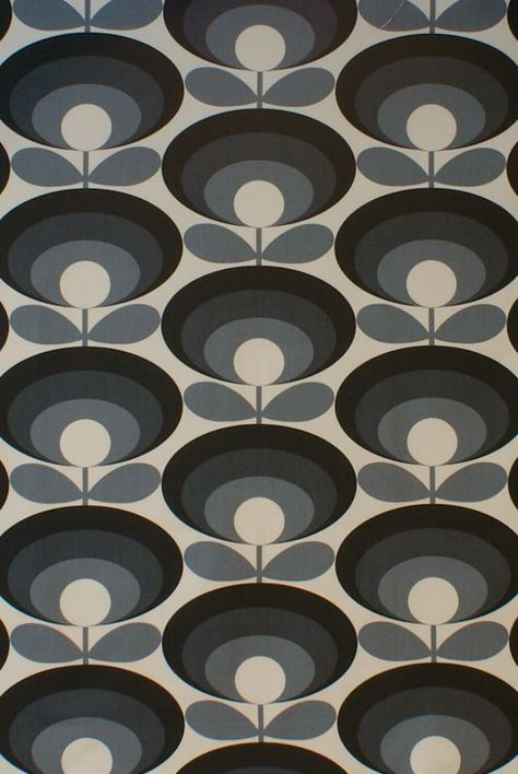 Designer Orla Kiely Oval Flower Seagrass Cotton Curtain Upholstery Craft Fabric