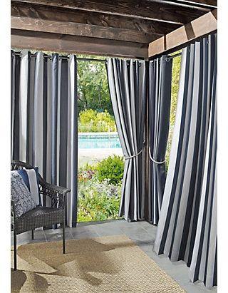 Sun Zero Valencia Cabana Stripe Indoor Outdoor Uv Protectant Curtain Panel In 2020 Indoor Outdoor Curtains Outdoor Curtains Patio Curtains