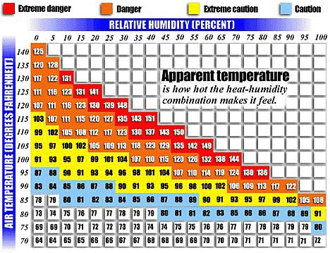 Watch Out For The Orange And Red Zones Especially If You Re New To Exercising Outside Early Mornings And Or Late Fleas Relative Humidity Chart Humidity Chart