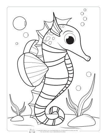 A Seahorse Coloring Page For Kids Coloringpage Coloringpages Animal Coloring Pages Ocean Coloring Pages Fish Coloring Page