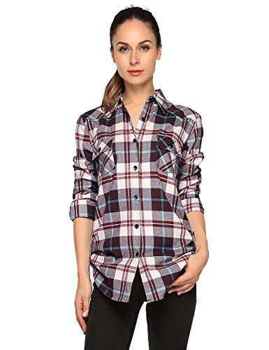 New Women/'s Shirt Warm Check Pattern Ladies Fit Chest Pocket Long Sleeve Cotton