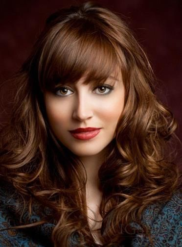 Stylish Elegante Amazing Long Loose Wave 100% Human Hair Wigs with Full Bang about 20 Inches