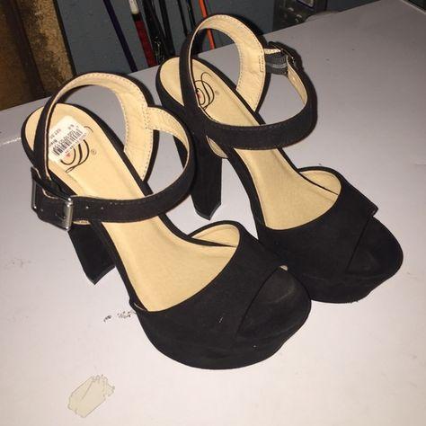355f03f71158 Black platform heels Black suede platform heels. Super comfy and easy to  walk in with