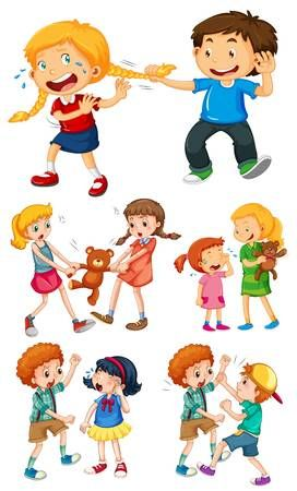 Big Kids Fighting With Little Kids Illustration Royalty Free Cliparts, Vectors, And Stock Illustration.