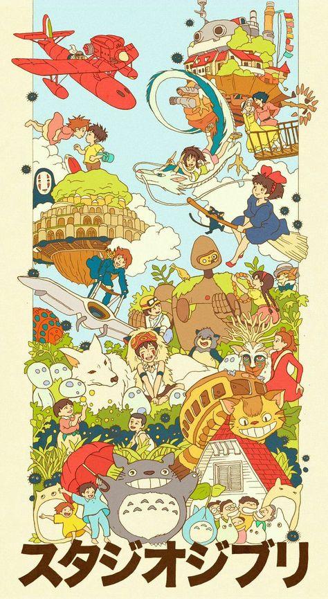 Ghibli Family by Sarah Gonzales Hayao Miyazaki, Studio Ghibli Films, Art Studio Ghibli, Studio Ghibli Poster, Studio Ghibli Tattoo, Studio Ghibli Characters, Animes Wallpapers, Cute Wallpapers, Vintage Wallpapers