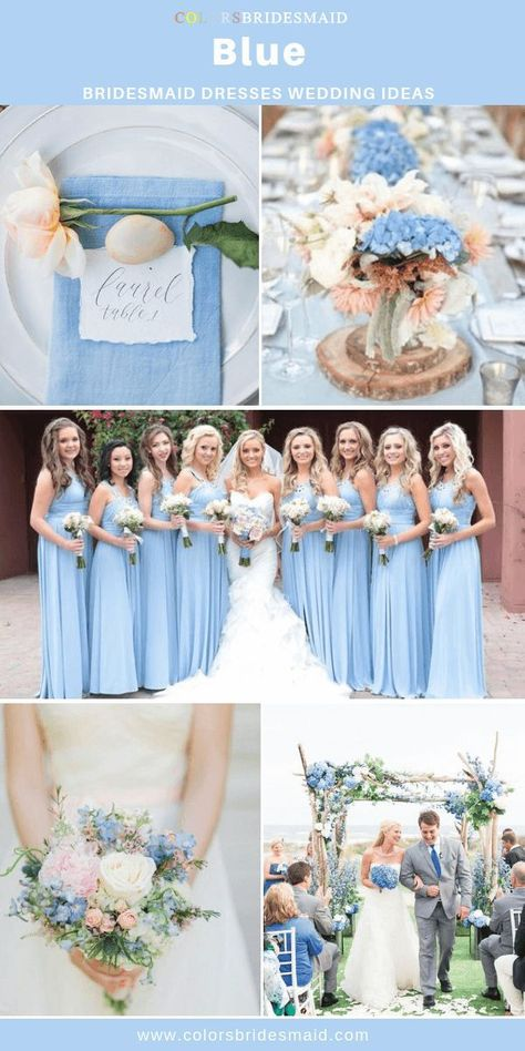 blue wedding Blue bridesmaid dresses long, amazing with white bridal gown, wedding invitations, venue and table decorations and bouquets in blue and light pink accent color.