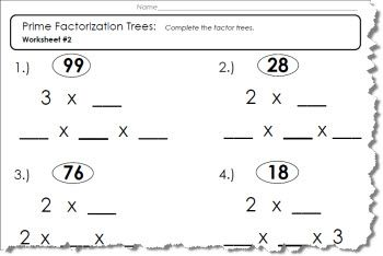 5 Prime Factor Tree Worksheets Prime Factorization Worksheet Prime Factorization Factor Trees