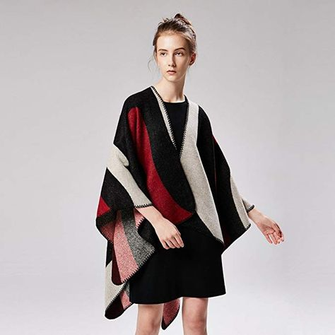 prix incroyable tout neuf où puis je acheter Knitted Poncho Cardigan Capes Shawl Vintage Color Blocking ...