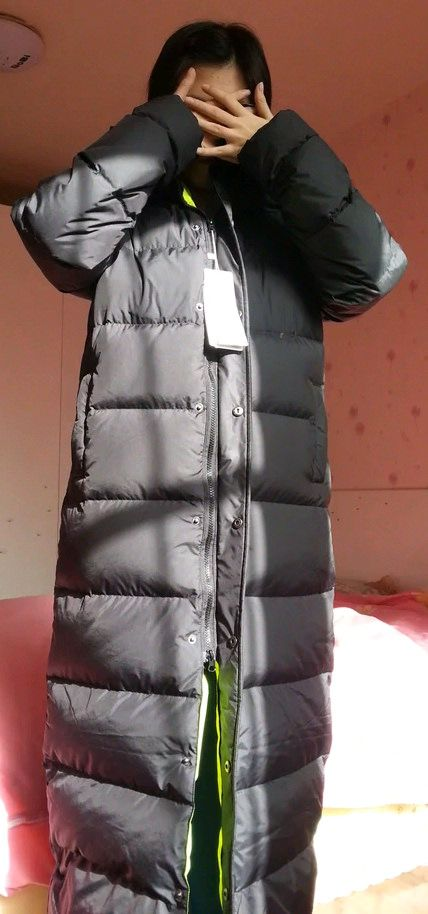 psb (33) (PQAZML) Tags long down coat puffy nylon hood fur woman