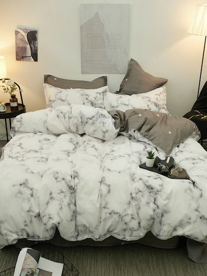 Marble Print Sheet Set Shein Marble Bedding Marble Bedroom Bedding Set