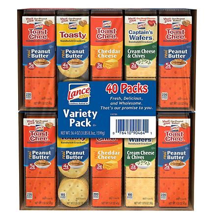 Lance Sandwich Crackers Variety Pack 1 41 Oz 40 Ct Sam S Club Variety Pack Sandwiches Peanut Butter Crackers