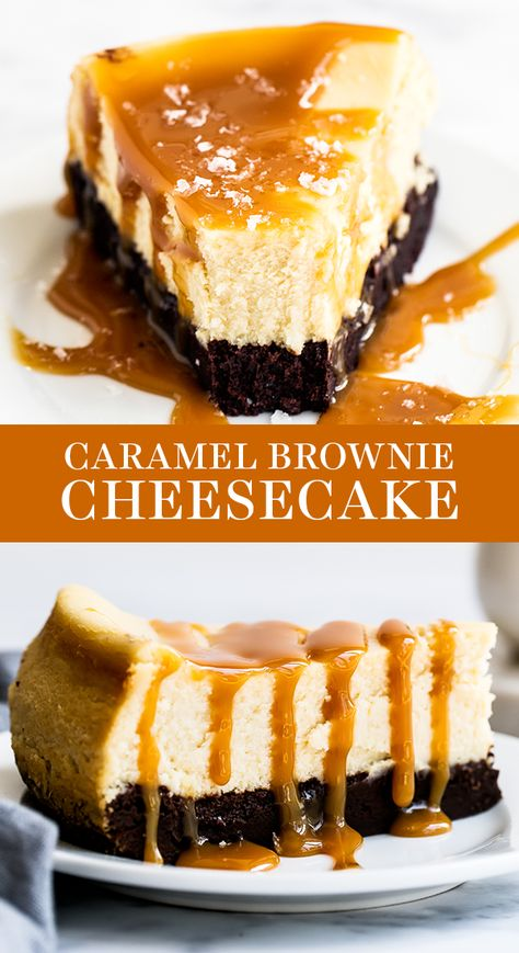 Caramel Brownie Cheesecake features a thick fudgy brownie bottom with a luscious layer of creamy vanilla cheesecake all topped with salted caramel sauce. Easy homemade, from-scratch recipe that is a great dessert idea for a crowd this fall or Thanksgiving! #caramelcheesecake #cheesecakerecipe #browniecheesecake