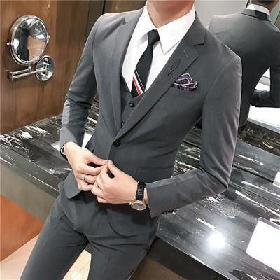 Suit Men S Clothing 3 Piece Men S Suit Slim Fit Elegant Men S Suit Suit Mens Wear Style Grey Ca Usa Fr Uk Au Eu Mens Fashion Suits Slim Fit Suit Men Mens Suits