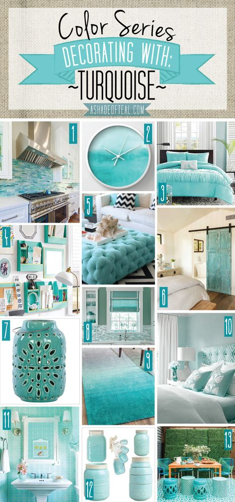 Color Series; Decorating with Turquoise   Aqua bedrooms ...