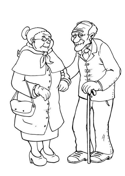 Coloring Page Grandmother And Grandfather Img 23105 Coloring