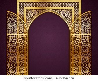 Ramadan Background With Golden Arch Wit Opened Doors With Golden Arabic Pattern Background For Holy Month Ramadan Background Backdrop Design Islamic Design