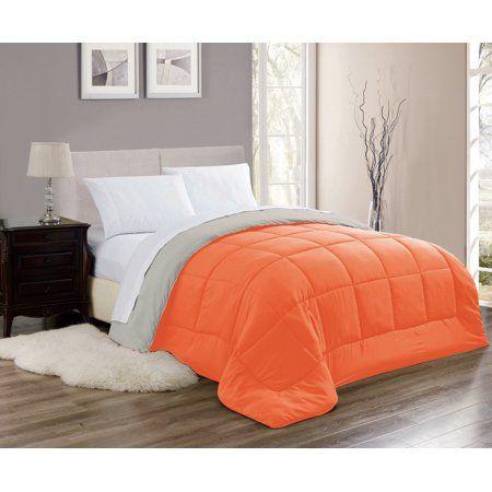 Chelsea Reversible Down Alternative Comforter In Orange Grey Full