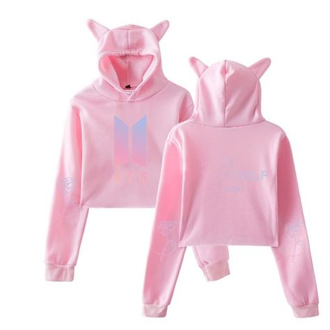 Kpop Love Yourself Answer 2018 Cute Cat Ears Women Hoodies Sweatshirts K-pop Sexy Navel Hip Hop Cat Ears Hoodies Women Clothes Women's Clothing