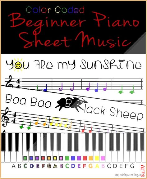 You Are My Sunshine And Baa Baa Black Sheep Color Coded Beginner