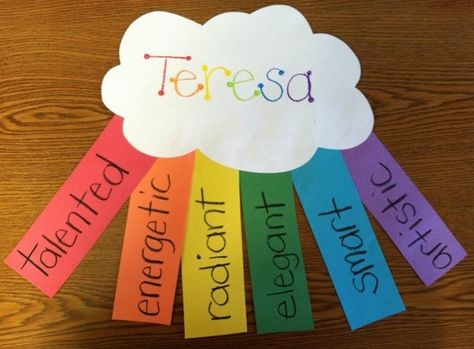 adjective clouds- for getting to know you activity - hang on rope in the classroom