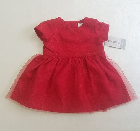 115d3bb3e8ad NWT CARTERS Baby Girls 3 Mo Red Glittery Tulle Short Sleeve Holiday XMas  Dress #Carters #FormalParty