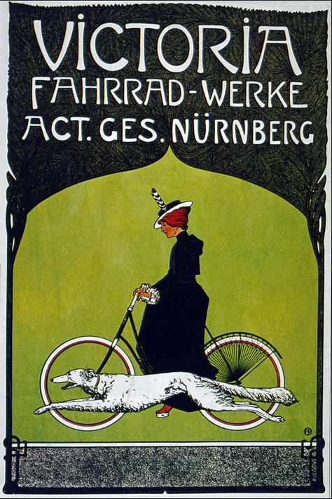 Victoria Fahrrad-Werke.  Act. Ges. Nürnberg Vintage Bicycle Advertising Poster. Design by Fritz Rehm, 1900