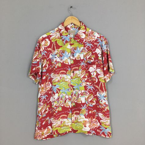 HAWAIIAN Rayon Shirt Men Large Vintage Hula Girl Hibiscus Flower Hawaii Tiki Tropical Honolulu Surf Beach Aloha Rayon Shirt Buttondown L