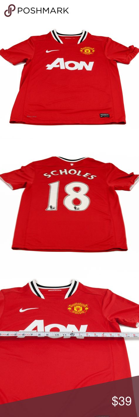 Nike Manchester United  Jersey Scholes #18 size S PLEASE NOTE:This item is used, therefore theactual size may differ from the advertised size. Please look at the measurementsbeforepurchasing. If you're not sure about the size, flat lay a similar item of your own and measure that item to compare with our measurements. This definitely helps in deciding if the item is the right size.  Measurements: Chest Large Nike Shirts Tees - Short Sleeve