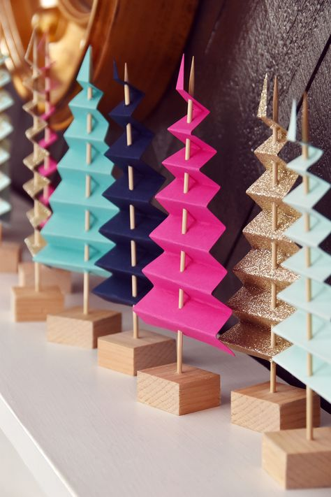 Easy Mantel Idea: Colorful Paper Tree Forest