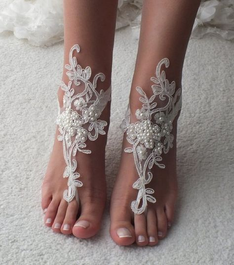 414c01f2ca22c EXPRESS SHIP Beach Wedding Barefoot Sandals ivory lace barefoot sandals  beach shoes Bridesmaid Gift