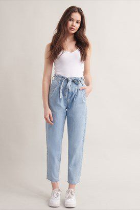 Paperbag Mom Jean Denim Fashion Women Clothes Womens Clothing Tops