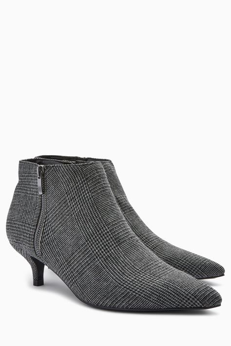 Womens Next Check Kitten Heel Ankle Boots Grey Kitten Heel Ankle Boots Black Leather Boots Black Leather Ankle Boots
