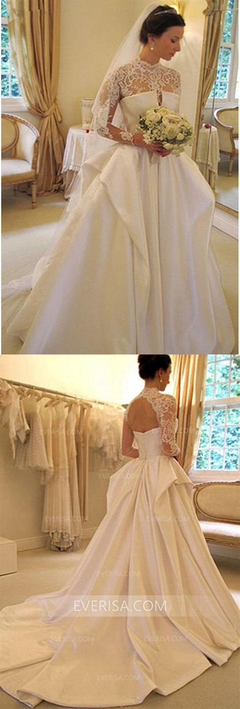 e3686abeb76 Charming White Long Sleeves Open Back Satin Wedding Dress Bridal Gown With  Lace