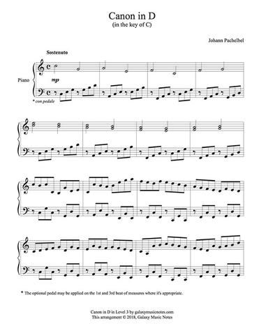 Canon In D By Pachelbel Level 3 Piano Sheet Music Piano