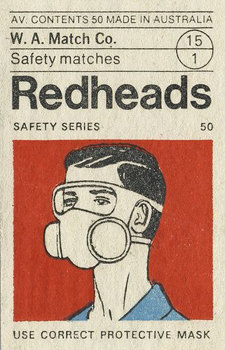 Redheads Safety Series matchbox label, Australia, made by the Bryant and May Factory in Melbourne. Japanese Graphic Design, Vintage Graphic Design, Graphic Design Posters, Graphic Design Illustration, Graphic Design Inspiration, Character Illustration, Graphic Art, Chinese Fonts Design, Illustration Art